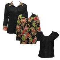 Sets - Reversible Jacket / Magic Crush Cap - Floral Bouquet - Black