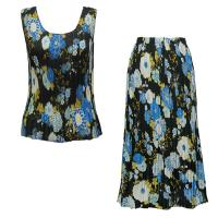 Sets Georgette Mini Pleat - Sleeveless - Mums Blue-Black