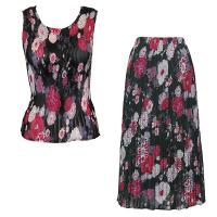 Sets Georgette Mini Pleat - Sleeveless - Mums Pink-Black