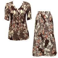 Sets Georgette Mini Pleat - Half Sleeve V Neck - Chocolate-Ivory Floral