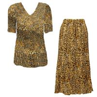Sets Georgette Mini Pleat - Half Sleeve V Neck - Leopard Print