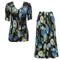 Sets Georgette Mini Pleat - Half Sleeve V Neck - Mums Blue-Black
