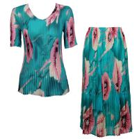 Sets Georgette Mini Pleat - Half Sleeve V Neck - Poppies - Aqua