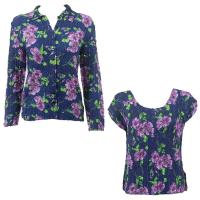 Twin Sets Silky Touch - Blouse / Cap Sleeve - Navy with Purple Flowers