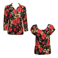 Twin Sets Satin - Blouse / Cap Sleeve - Coral Blossoms on Black