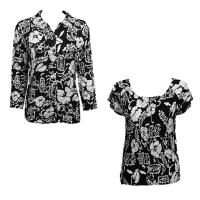 Twin Sets Satin - Blouse / Cap Sleeve - Ivory Floral on Black