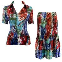 Sets Satin Mini Pleat - Half Sleeve with Collar - Abstract Blue-Red