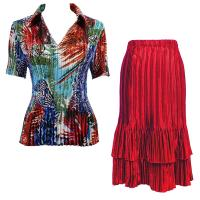 Sets Satin Mini Pleat - Half Sleeve with Collar - Abstract Blue-Red - Red Skirt