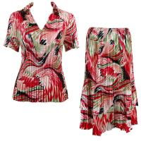 Sets Satin Mini Pleat - Half Sleeve with Collar - Abstract Red-White
