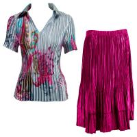 Sets Satin Mini Pleat - Half Sleeve with Collar - Red Swirl on Silver - Magenta Skirt