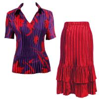 Sets Satin Mini Pleat - Half Sleeve with Collar - Red Tulips on Purple - Red Skirt