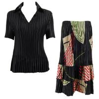 Sets Satin Mini Pleat - Half Sleeve with Collar - Solid Black - Art Deco Olive-Red Skirt