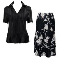 Sets Satin Mini Pleat - Half Sleeve with Collar - Solid Black - White Tulips on Black Skirt