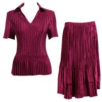 Sets Satin Mini Pleat - Half Sleeve with Collar - Solid Burgundy