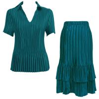 Sets Satin Mini Pleat - Half Sleeve with Collar - Solid Dark Teal
