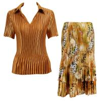 Sets Satin Mini Pleat - Half Sleeve with Collar - Solid Gold - Gold Print Skirt