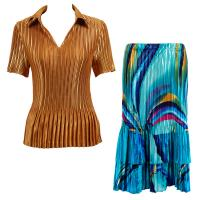 Sets Satin Mini Pleat - Half Sleeve with Collar - Solid Gold - Half Moon Blue-Yellow Skirt