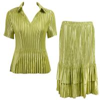 Sets Satin Mini Pleat - Half Sleeve with Collar - Solid Leaf Green