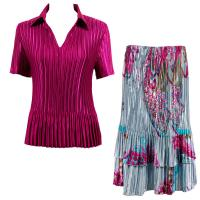 Sets Satin Mini Pleat - Half Sleeve with Collar - Solid Magenta - Red Swirl on Silver Skirt