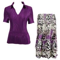 Sets Satin Mini Pleat - Half Sleeve with Collar - Solid Purple - Reptile Floral Purple Skirt