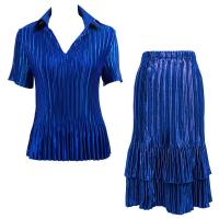 Sets Satin Mini Pleat - Half Sleeve with Collar - Solid Royal