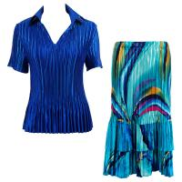 Sets Satin Mini Pleat - Half Sleeve with Collar - Solid Royal - Half Moon Blue-Yellow Skirt