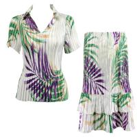 Sets Satin Mini Pleat - Half Sleeve with Collar - Palm Leaf Green-Purple