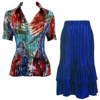 Sets Satin Mini Pleat - Half Sleeve with Collar - Abstract Blue-Red - Royal Skirt