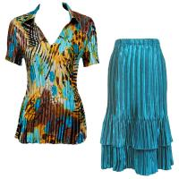 Sets Satin Mini Pleat - Half Sleeve with Collar - Jungle Floral Turquoise - Turquoise Skirt