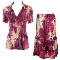 Sets Satin Mini Pleat - Half Sleeve with Collar - Rose Floral Berry