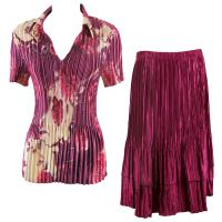 Sets Satin Mini Pleat - Half Sleeve with Collar - Rose Floral Berry - Ruby Skirt