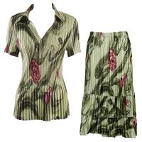 Sets Satin Mini Pleat - Half Sleeve with Collar - Multi Green Floral