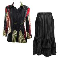 Sets Satin Mini Pleat - Blouse / Skirt - Art Deco Olive-Red - Black Skirt