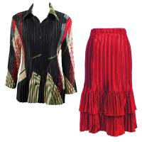 Sets Satin Mini Pleat - Blouse / Skirt - Art Deco Olive-Red - Red Skirt