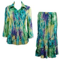 Sets Satin Mini Pleat - Blouse / Skirt - Blue-Purple-Yellow Watercolors