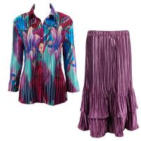 Sets Satin Mini Pleat - Blouse / Skirt - Red-Blue Flower - Eggplant Skirt