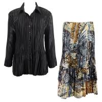 Sets Satin Mini Pleat - Blouse / Skirt - Solid Black - Abstract Black-Gold Skirt