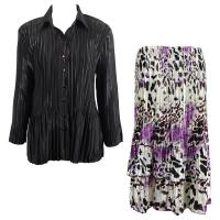 Sets Satin Mini Pleat - Blouse / Skirt - Solid Black - Reptile Floral Purple Skirt