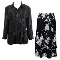Sets Satin Mini Pleat - Blouse / Skirt - Solid Black - White Tulips on Black Skirt