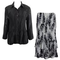 Sets Satin Mini Pleat - Blouse / Skirt - Solid Black - White-Black Swirl Dots Skirt