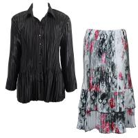 Sets Satin Mini Pleat - Blouse / Skirt - Solid Black - White-Black-Pink Floral Skirt