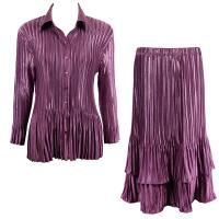 Sets Satin Mini Pleat - Blouse / Skirt - Solid Eggplant