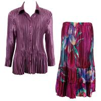 Sets Satin Mini Pleat - Blouse / Skirt - Solid Eggplant - Red-Blue Flower Skirt