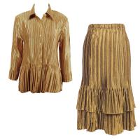 Sets Satin Mini Pleat - Blouse / Skirt - Solid Gold