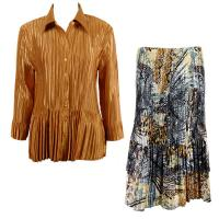 Sets Satin Mini Pleat - Blouse / Skirt - Solid Gold - Abstract Black-Gold Skirt