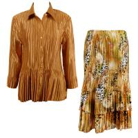 Sets Satin Mini Pleat - Blouse / Skirt - Solid Gold - Gold Print Skirt