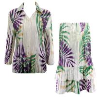 Sets Satin Mini Pleat - Blouse / Skirt - Palm Leaf Green-Purple