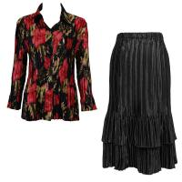 Sets Satin Mini Pleat - Blouse / Skirt - Coral Blossoms on Black - Black Skirt