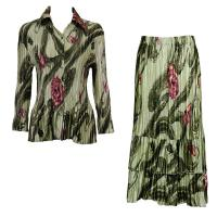 Sets Satin Mini Pleat - Blouse / Skirt - Multi Green Floral