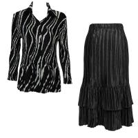 Sets Satin Mini Pleat - Blouse / Skirt - Ribbon Black-White - Black Skirt